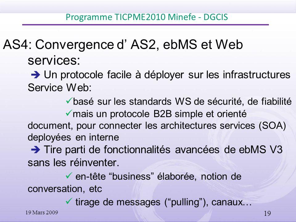 AS4: Convergence d AS2, ebMS et Web services: Un protocole facile à déployer sur les infrastructures Service Web: basé sur les standards WS de sécurit