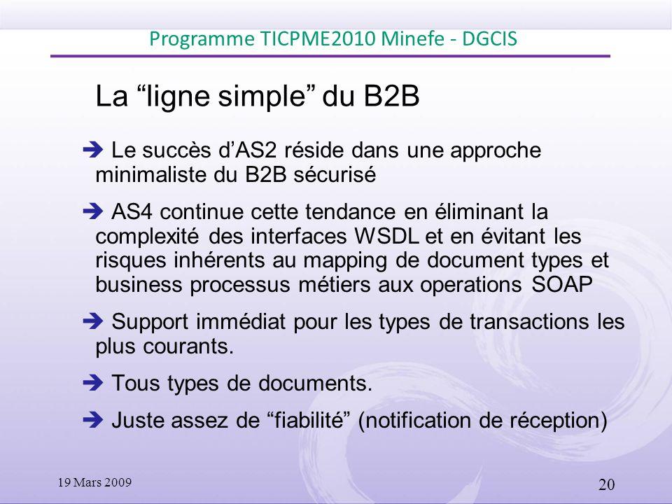 La ligne simple du B2B Le succès dAS2 réside dans une approche minimaliste du B2B sécurisé AS4 continue cette tendance en éliminant la complexité des