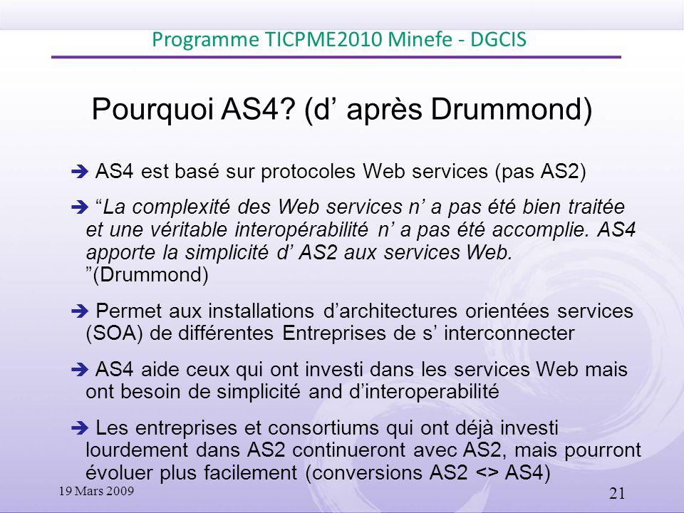 Pourquoi AS4? (d après Drummond) AS4 est basé sur protocoles Web services (pas AS2) La complexité des Web services n a pas été bien traitée et une vér