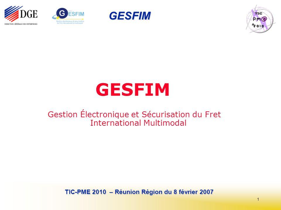 1 TIC-PME 2010 – Réunion Région du 8 février 2007 GESFIM GESFIM Gestion Électronique et Sécurisation du Fret International Multimodal