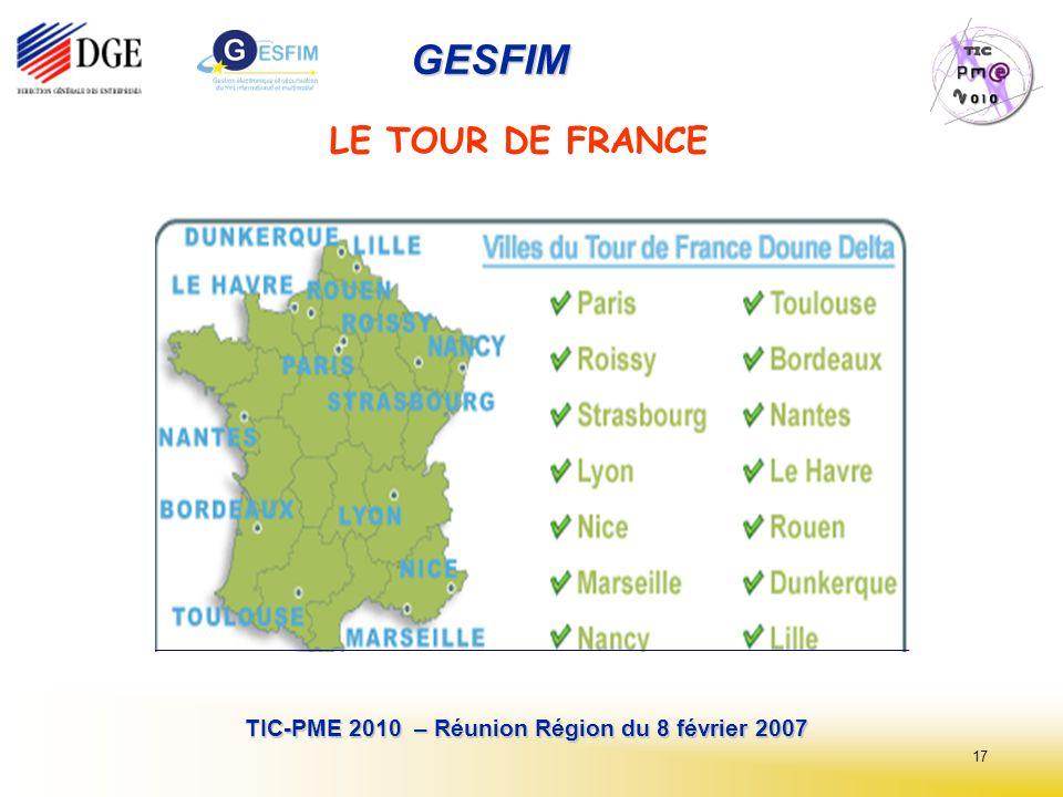 17 TIC-PME 2010 – Réunion Région du 8 février 2007 GESFIM LE TOUR DE FRANCE