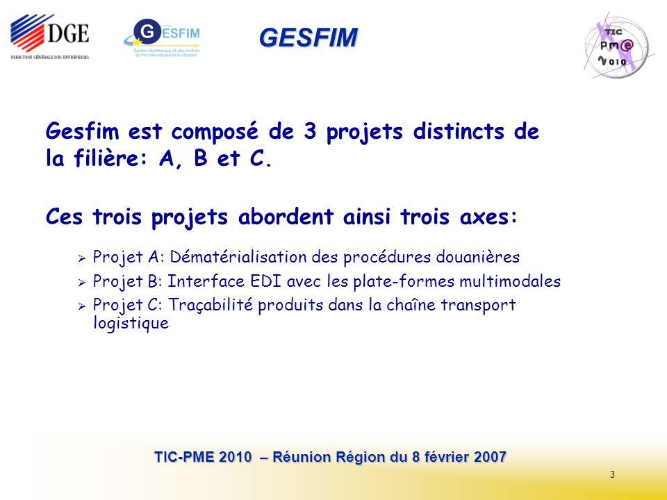 14 TIC-PME 2010 – Réunion Région du 8 février 2007 GESFIM CEFACT Nations Unies et OASIS/UBL (comités TBG3 et EEG2) Echanges interentreprises: modélisation processus, flux et données métier, formats déchanges standardisés (XML, EDIFACT..) Référentiels eBusiness de bonne pratique, guides de mise en oeuvre ( ITIGG - International Transport Implementation Guidelines Group) Harmonisation des travaux avec les Douanes: TBG4, WCO/OMD Organisation Mondiale des Douanes, TAXUD Europe...