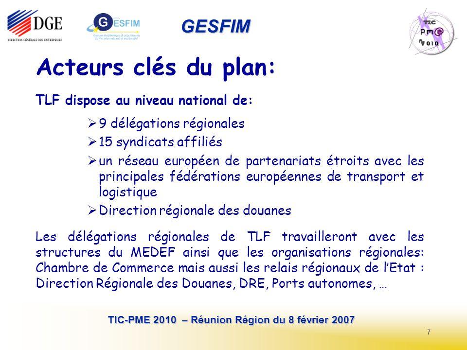 18 TIC-PME 2010 – Réunion Région du 8 février 2007 GESFIM La C.R.C.I Nord Pas de Calais sensibilise les P.M.E toutes filières au T.I.C et en particulier la filière transport et logistique.