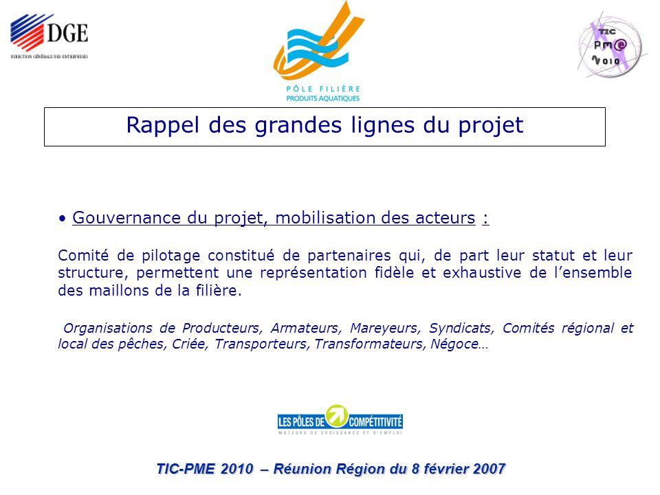 TIC-PME 2010 – Réunion Région du 8 février 2007 Rappel des grandes lignes du projet Gouvernance du projet, mobilisation des acteurs : Comité de pilota