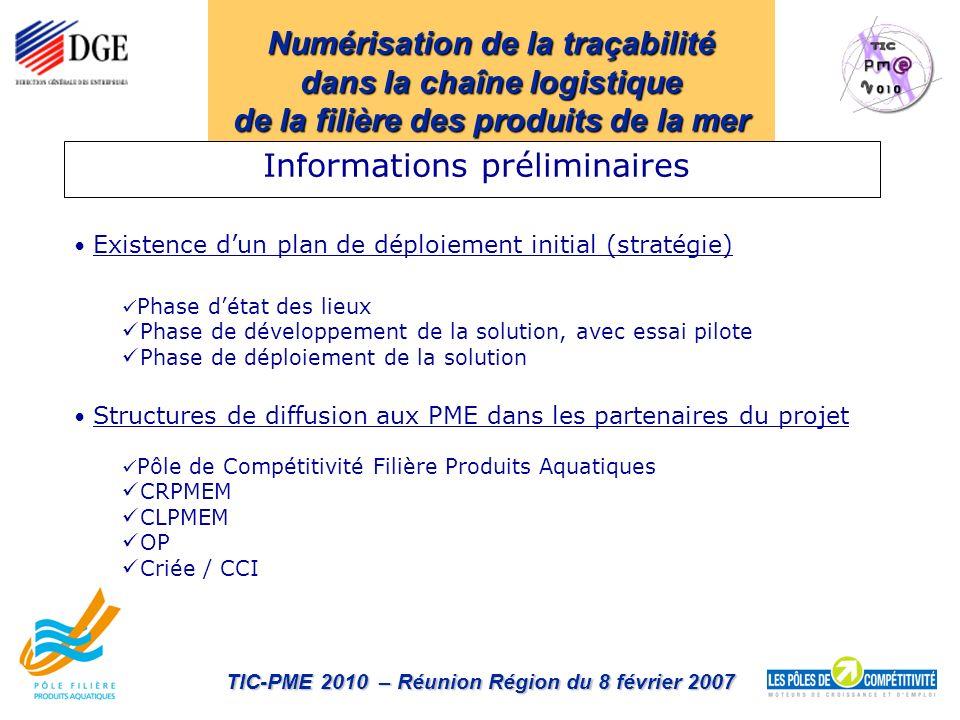 Numérisation de la traçabilité dans la chaîne logistique de la filière des produits de la mer TIC-PME 2010 – Réunion Région du 8 février 2007 Existenc