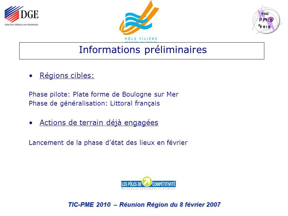 TIC-PME 2010 – Réunion Région du 8 février 2007 Régions cibles: Phase pilote: Plate forme de Boulogne sur Mer Phase de généralisation: Littoral frança