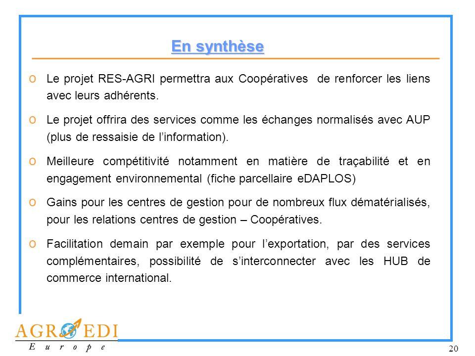 20 o Le projet RES-AGRI permettra aux Coopératives de renforcer les liens avec leurs adhérents. o Le projet offrira des services comme les échanges no