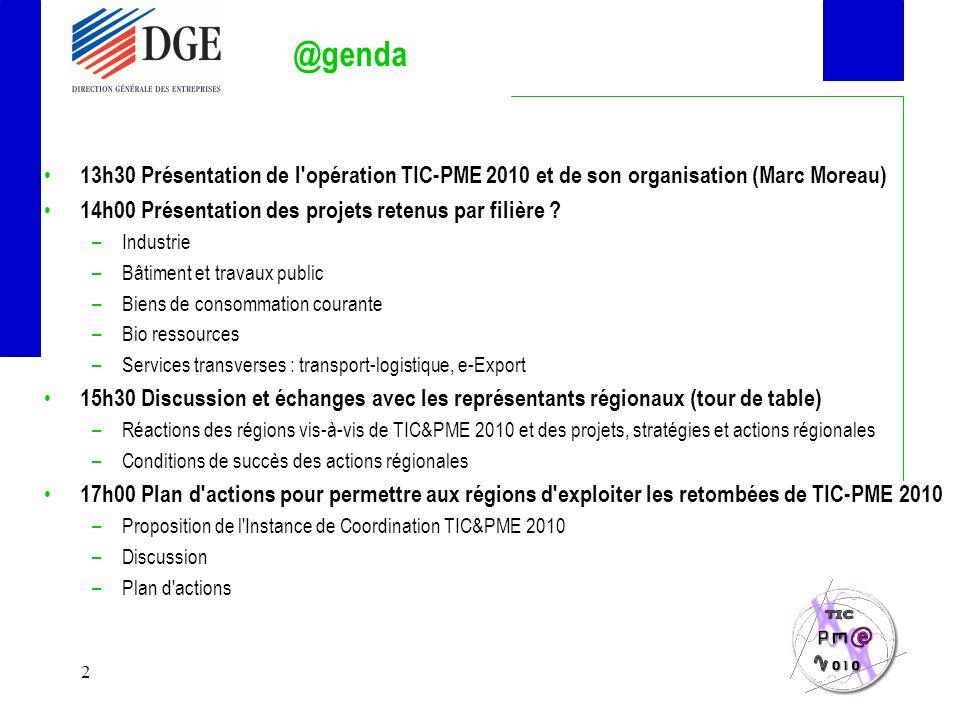 2 @genda 13h30 Présentation de l opération TIC-PME 2010 et de son organisation (Marc Moreau) 14h00 Présentation des projets retenus par filière .