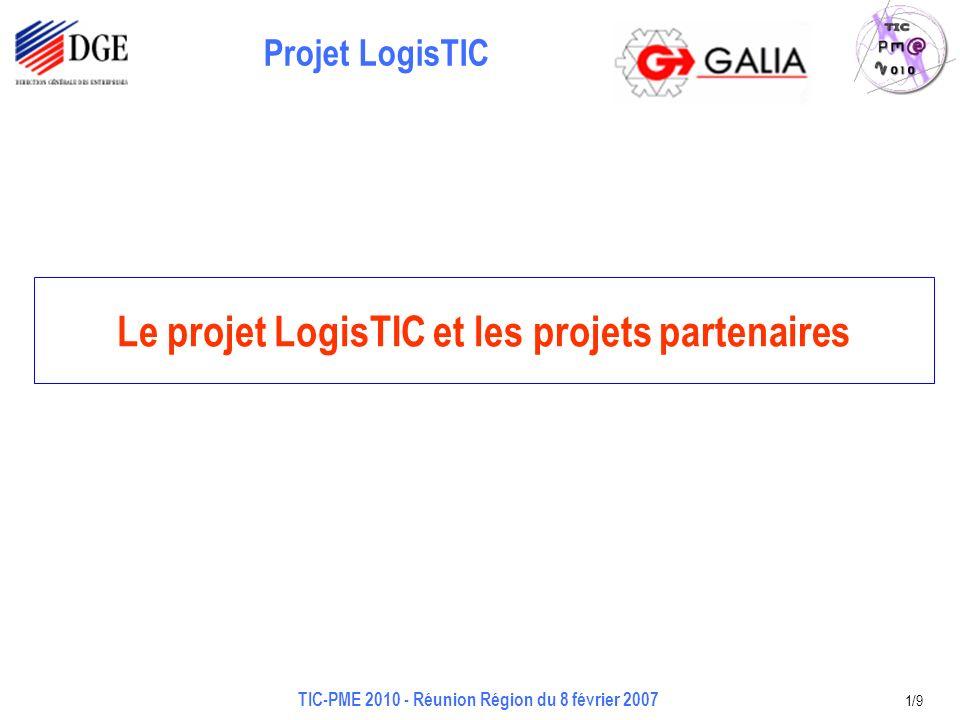 Projet LogisTIC TIC-PME 2010 - Réunion Région du 8 février 2007 1/9 Le projet LogisTIC et les projets partenaires