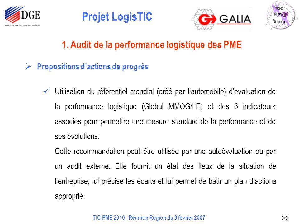 Projet LogisTIC TIC-PME 2010 - Réunion Région du 8 février 2007 3/9 Propositions dactions de progrès Utilisation du référentiel mondial (créé par lautomobile) dévaluation de la performance logistique (Global MMOG/LE) et des 6 indicateurs associés pour permettre une mesure standard de la performance et de ses évolutions.