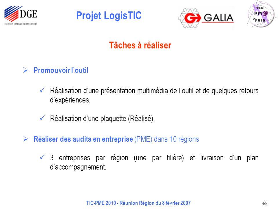 Projet LogisTIC TIC-PME 2010 - Réunion Région du 8 février 2007 4/9 Promouvoir loutil Réalisation dune présentation multimédia de loutil et de quelques retours dexpériences.