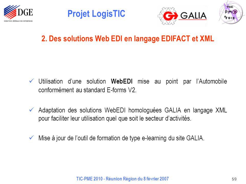 Projet LogisTIC TIC-PME 2010 - Réunion Région du 8 février 2007 5/9 Utilisation dune solution WebEDI mise au point par lAutomobile conformément au standard E-forms V2.
