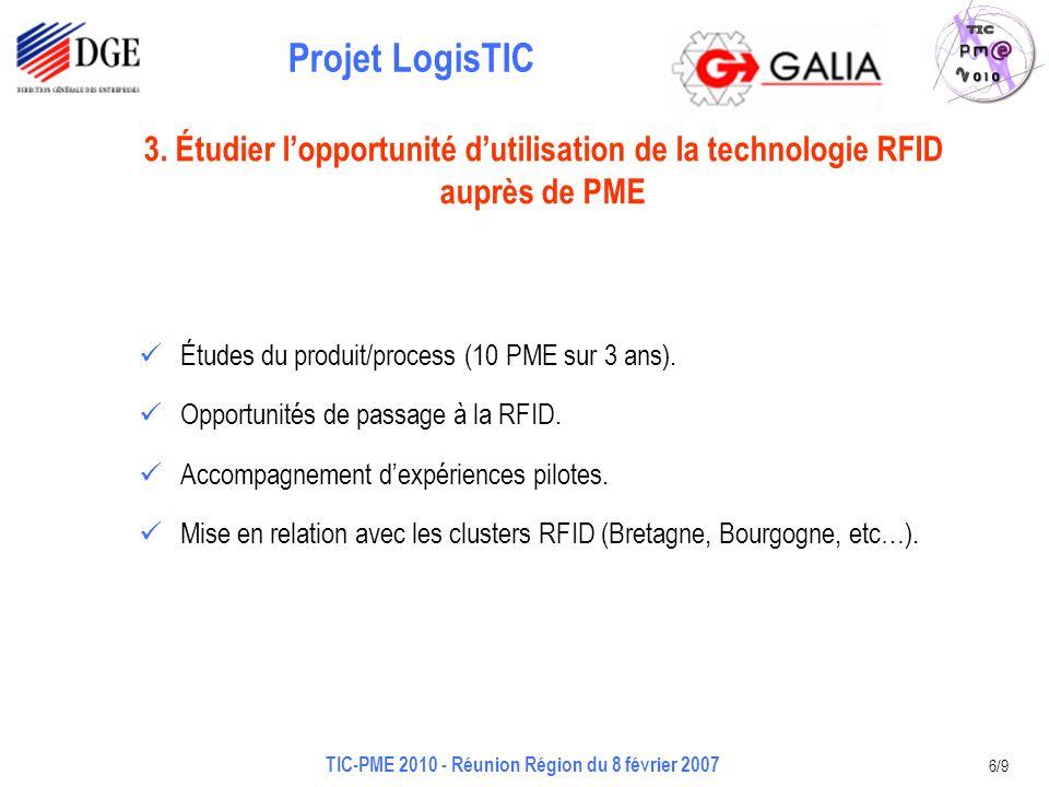 Projet LogisTIC TIC-PME 2010 - Réunion Région du 8 février 2007 6/9 Études du produit/process (10 PME sur 3 ans). Opportunités de passage à la RFID. A