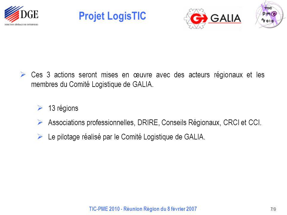 Projet LogisTIC TIC-PME 2010 - Réunion Région du 8 février 2007 7/9 Ces 3 actions seront mises en œuvre avec des acteurs régionaux et les membres du Comité Logistique de GALIA.