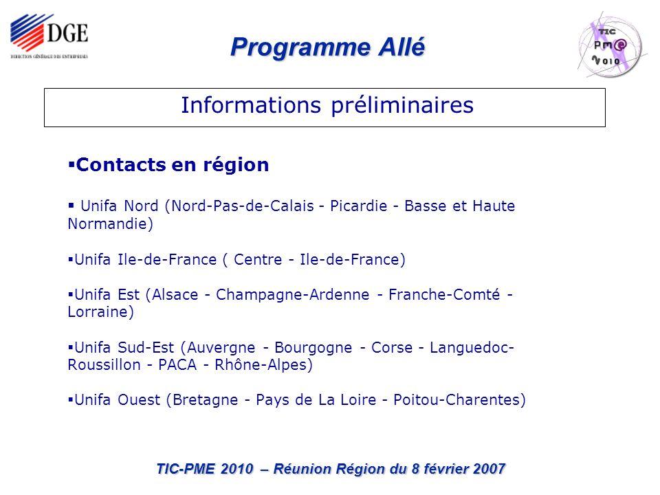 Programme Allé TIC-PME 2010 – Réunion Région du 8 février 2007 Contacts en région Unifa Nord (Nord-Pas-de-Calais - Picardie - Basse et Haute Normandie) Unifa Ile-de-France ( Centre - Ile-de-France) Unifa Est (Alsace - Champagne-Ardenne - Franche-Comté - Lorraine) Unifa Sud-Est (Auvergne - Bourgogne - Corse - Languedoc- Roussillon - PACA - Rhône-Alpes) Unifa Ouest (Bretagne - Pays de La Loire - Poitou-Charentes) Informations préliminaires