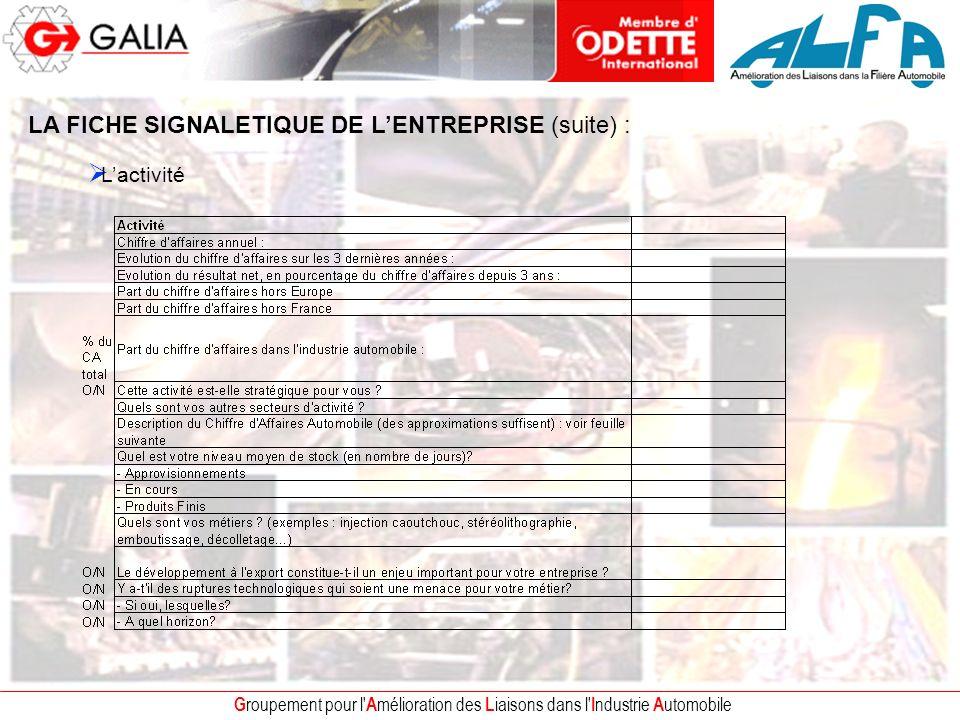 G roupement pour l A mélioration des L iaisons dans l I ndustrie A utomobile LA FICHE SIGNALETIQUE DE LENTREPRISE (suite) : Lactivité