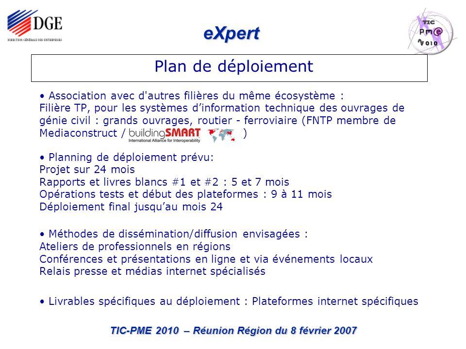eXpert TIC-PME 2010 – Réunion Région du 8 février 2007 Besoins en terme de relais professionnels et de dissémination Nécessité impérative dimplication des Maîtrises dOuvrages publiques et privées à tous les stades de déroulement du projet et lors de la dissémination.