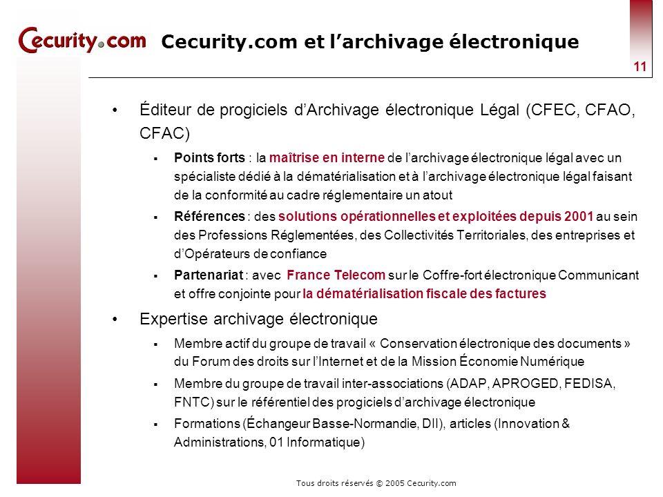 Tous droits réservés © 2005 Cecurity.com 11 Cecurity.com et larchivage électronique Éditeur de progiciels dArchivage électronique Légal (CFEC, CFAO, C
