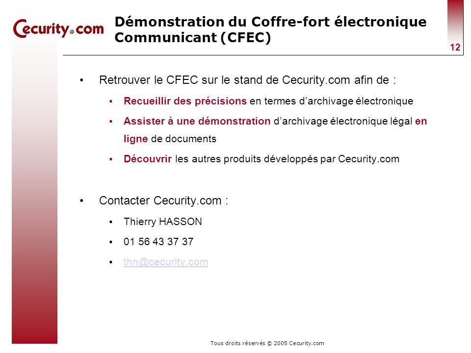Tous droits réservés © 2005 Cecurity.com 12 Démonstration du Coffre-fort électronique Communicant (CFEC) Retrouver le CFEC sur le stand de Cecurity.co