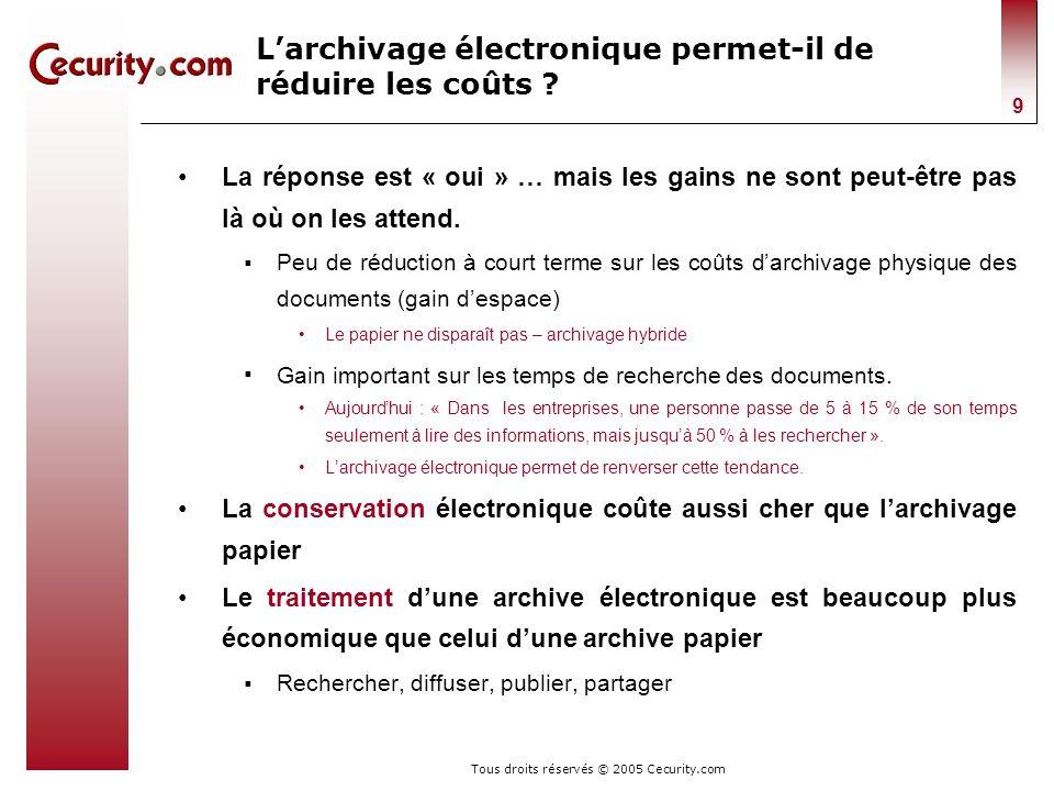Tous droits réservés © 2005 Cecurity.com 9 Larchivage électronique permet-il de réduire les coûts ? La réponse est « oui » … mais les gains ne sont pe