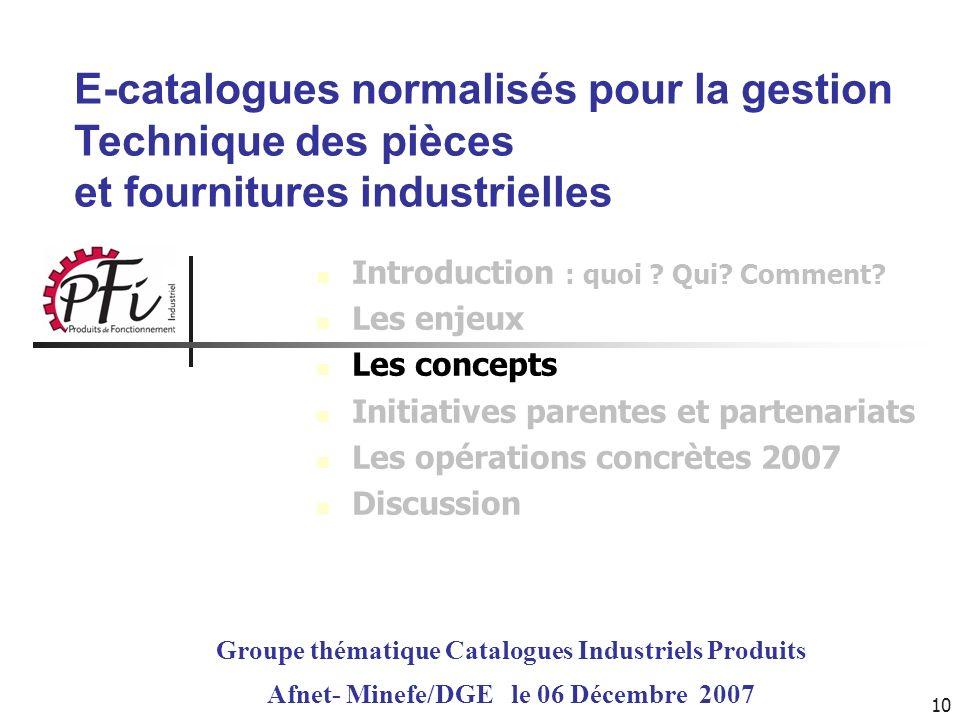 10 E-catalogues normalisés pour la gestion Technique des pièces et fournitures industrielles Groupe thématique Catalogues Industriels Produits Afnet-