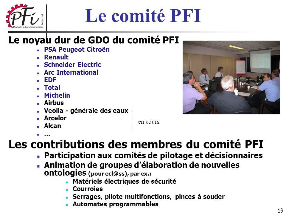 19 Le noyau dur de GDO du comité PFI PSA Peugeot Citroën Renault Schneider Electric Arc International EDF Total Michelin Airbus Veolia - générale des
