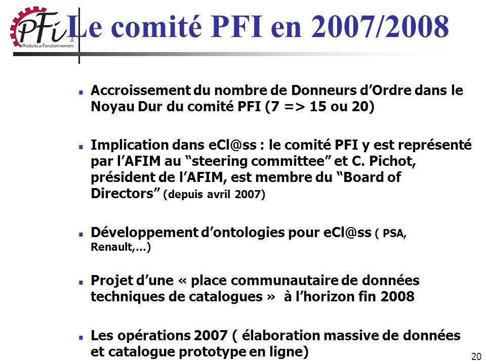 20 Accroissement du nombre de Donneurs dOrdre dans le Noyau Dur du comité PFI (7 => 15 ou 20) Implication dans eCl@ss : le comité PFI y est représenté