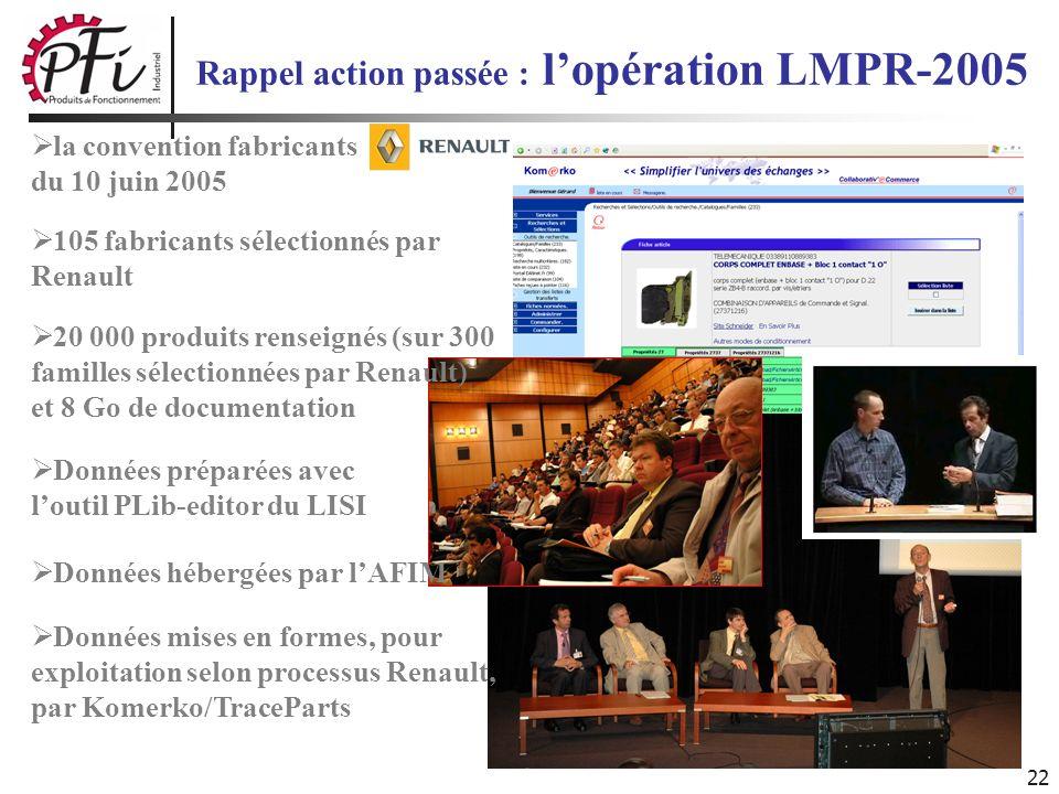 22 Rappel action passée : lopération LMPR-2005 la convention fabricants du 10 juin 2005 105 fabricants sélectionnés par Renault 20 000 produits rensei