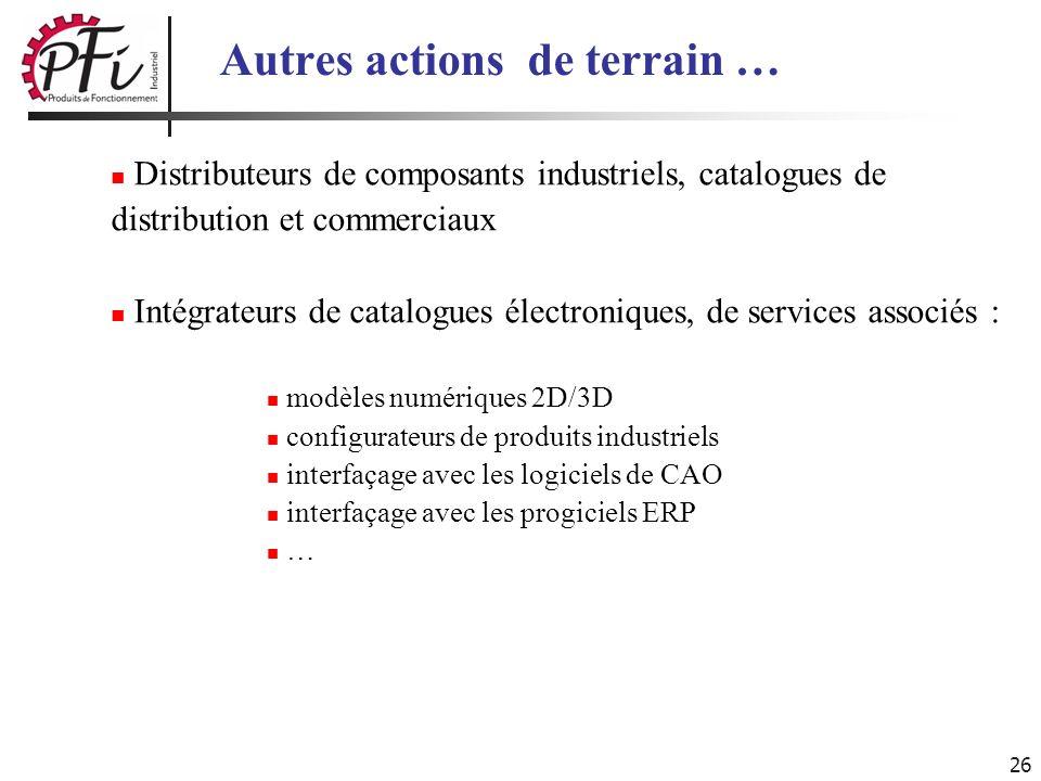 26 Autres actions de terrain … Distributeurs de composants industriels, catalogues de distribution et commerciaux Intégrateurs de catalogues électroni