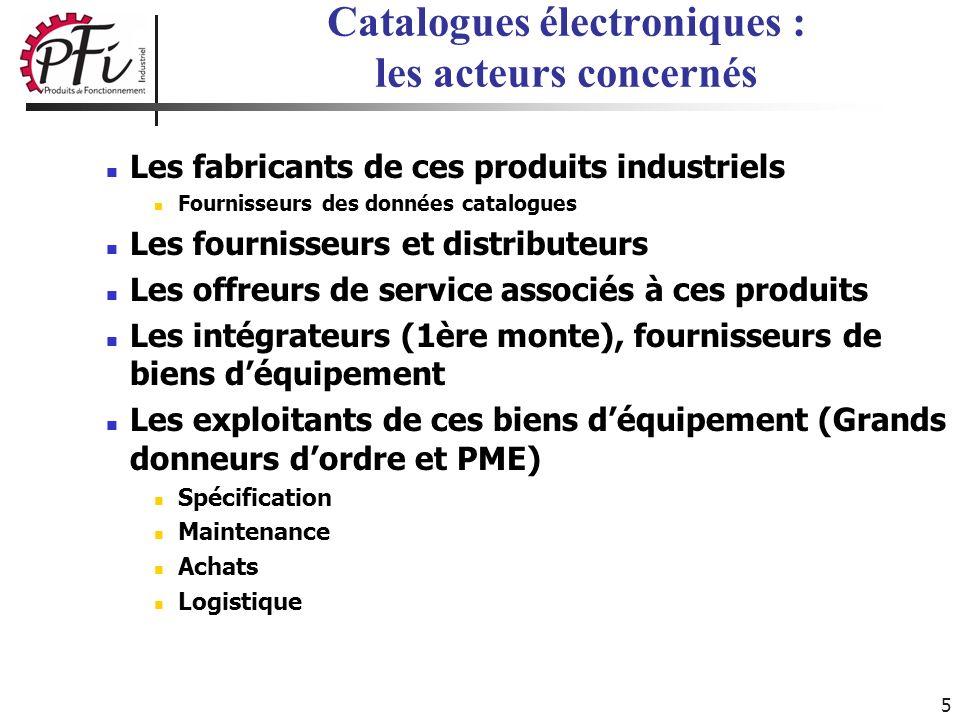 5 Catalogues électroniques : les acteurs concernés Les fabricants de ces produits industriels Fournisseurs des données catalogues Les fournisseurs et