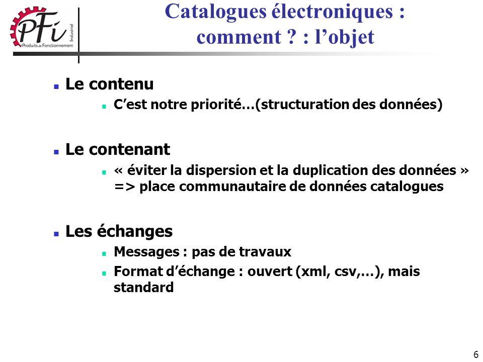 6 Catalogues électroniques : comment ? : lobjet Le contenu Cest notre priorité…(structuration des données) Le contenant « éviter la dispersion et la d
