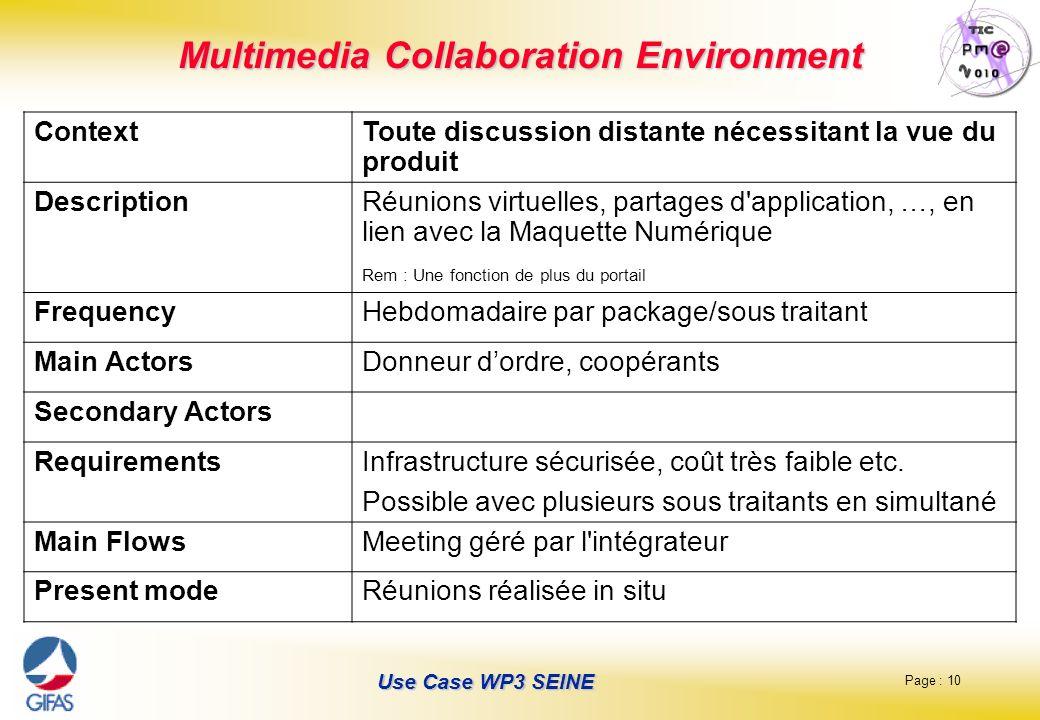 Page : 10 Use Case WP3 SEINE Multimedia Collaboration Environment ContextToute discussion distante nécessitant la vue du produit DescriptionRéunions v