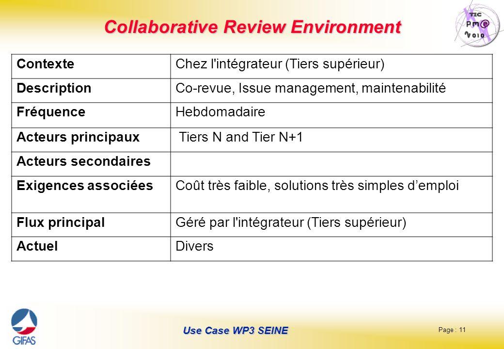 Page : 11 Use Case WP3 SEINE Collaborative Review Environment ContexteChez l'intégrateur (Tiers supérieur) DescriptionCo-revue, Issue management, main
