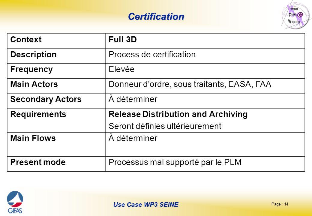 Page : 14 Use Case WP3 SEINE Certification ContextFull 3D DescriptionProcess de certification FrequencyElevée Main ActorsDonneur dordre, sous traitant