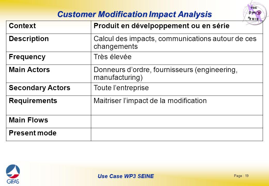 Page : 19 Use Case WP3 SEINE Customer Modification Impact Analysis ContextProduit en dévelpoppement ou en série DescriptionCalcul des impacts, communi