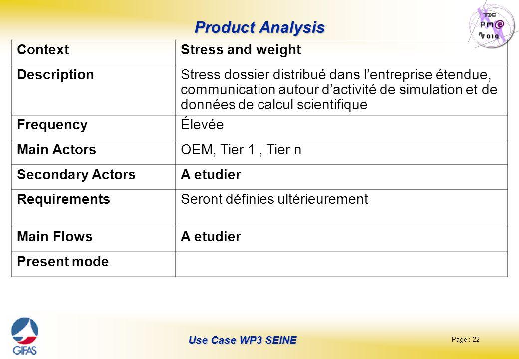 Page : 22 Use Case WP3 SEINE Product Analysis ContextStress and weight DescriptionStress dossier distribué dans lentreprise étendue, communication aut