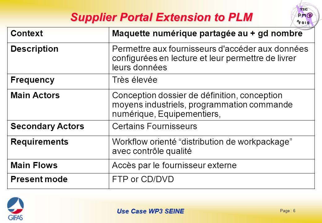 Page : 6 Use Case WP3 SEINE Supplier Portal Extension to PLM ContextMaquette numérique partagée au + gd nombre DescriptionPermettre aux fournisseurs d