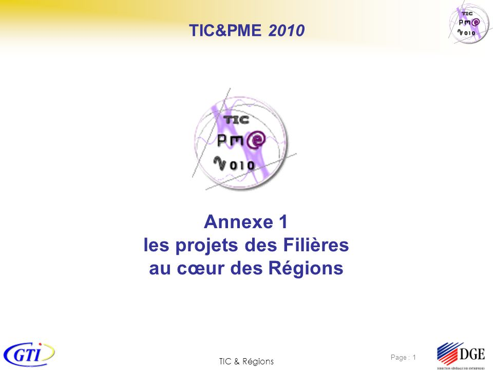 TIC & Régions Page : 1 Annexe 1 les projets des Filières au cœur des Régions TIC&PME 2010