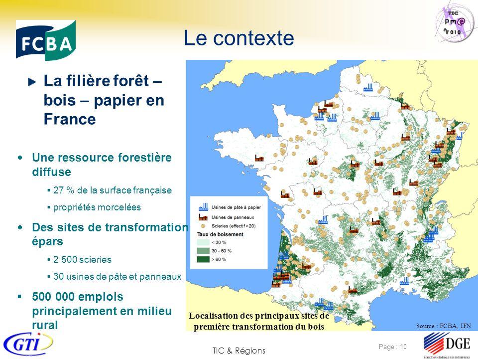 TIC & Régions Page : 10 Le contexte La filière forêt – bois – papier en France Une ressource forestière diffuse 27 % de la surface française propriété
