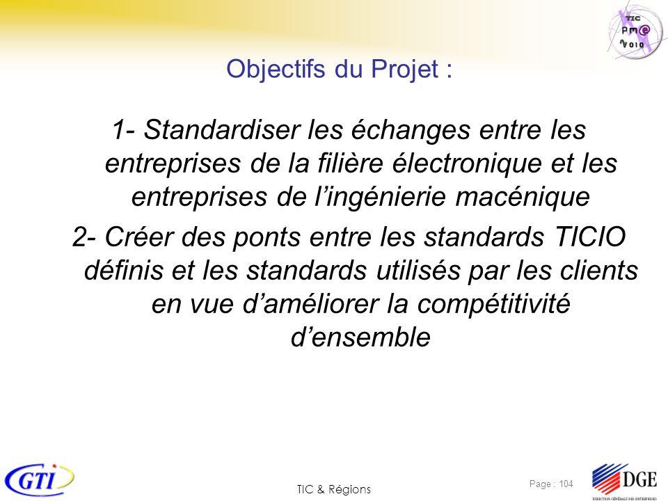 TIC & Régions Page : 104 Objectifs du Projet : 1- Standardiser les échanges entre les entreprises de la filière électronique et les entreprises de lin
