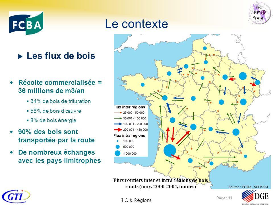 TIC & Régions Page : 11 Le contexte Les flux de bois Source : FCBA, SITRAM Flux routiers inter et intra régions de bois ronds (moy. 2000-2004, tonnes)