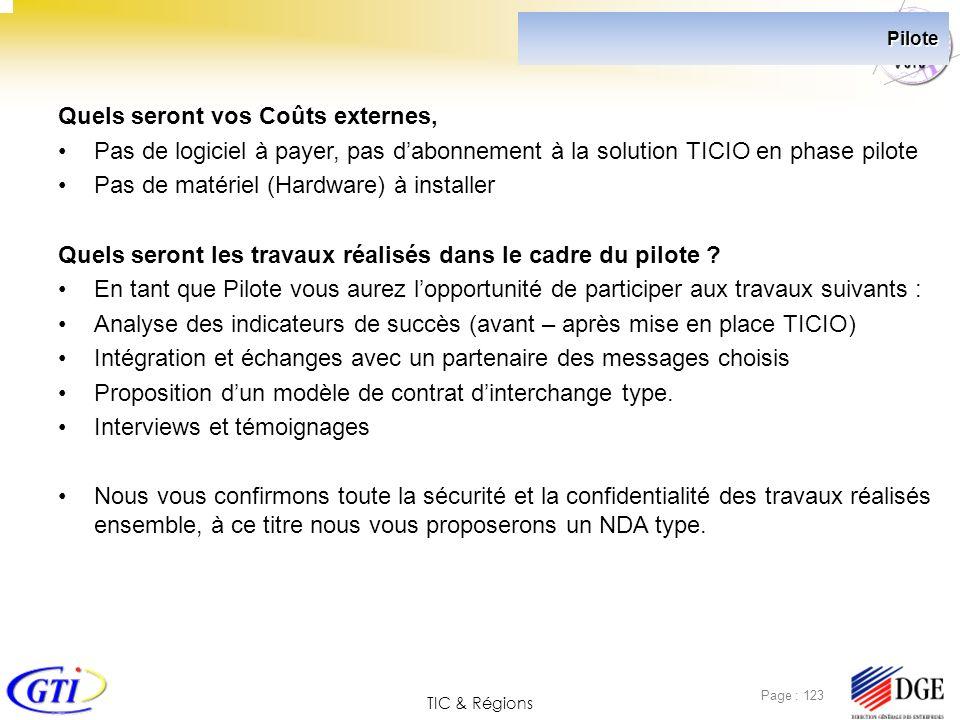 TIC & Régions Page : 123 Pilote Quels seront vos Coûts externes, Pas de logiciel à payer, pas dabonnement à la solution TICIO en phase pilote Pas de m