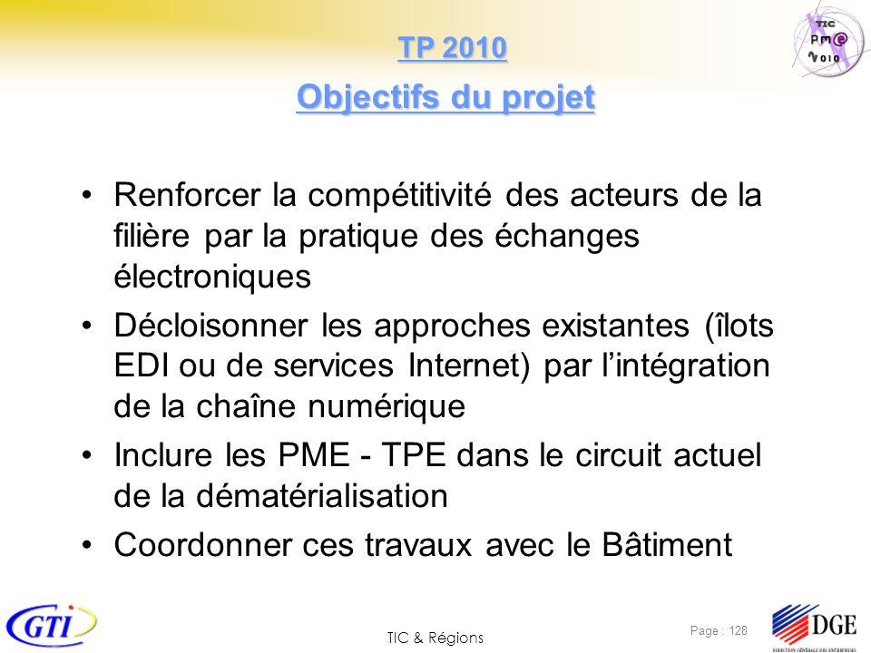 TIC & Régions Page : 128 Objectifs du projet Renforcer la compétitivité des acteurs de la filière par la pratique des échanges électroniques Décloison