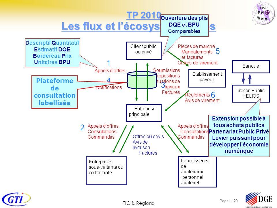 TIC & Régions Page : 129 Les flux et lécosystème visés Client public ou privé Entreprise principale Entreprises sous-traitante ou co-traitante Etablis