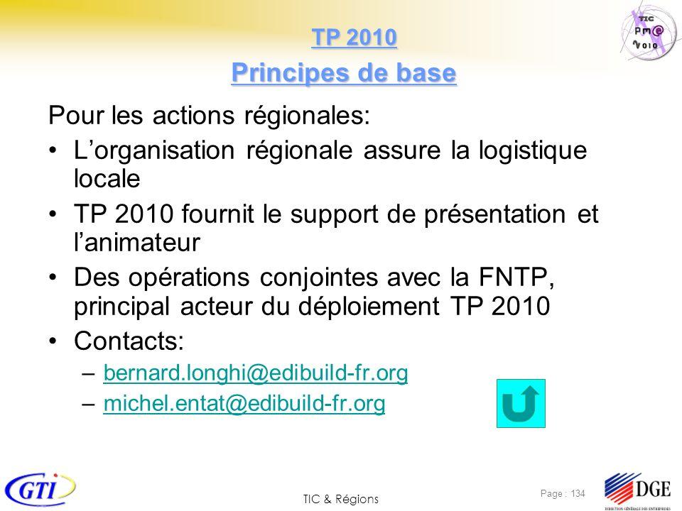 TIC & Régions Page : 134 Principes de base Pour les actions régionales: Lorganisation régionale assure la logistique locale TP 2010 fournit le support