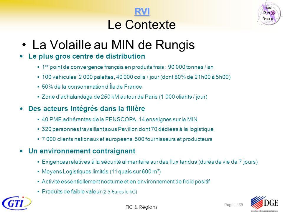 TIC & Régions Page : 139 RVI RVI Le Contexte La Volaille au MIN de Rungis Le plus gros centre de distribution 1 er point de convergence français en pr