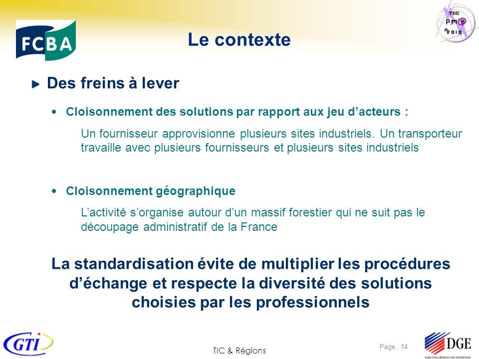 TIC & Régions Page : 14 Le contexte Des freins à lever Cloisonnement des solutions par rapport aux jeu dacteurs : Un fournisseur approvisionne plusieu