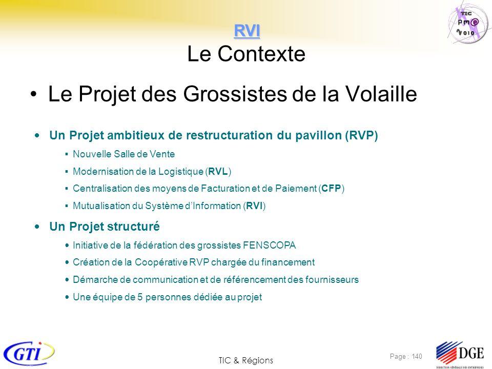 TIC & Régions Page : 140 RVI RVI Le Contexte Le Projet des Grossistes de la Volaille Un Projet ambitieux de restructuration du pavillon (RVP) Nouvelle