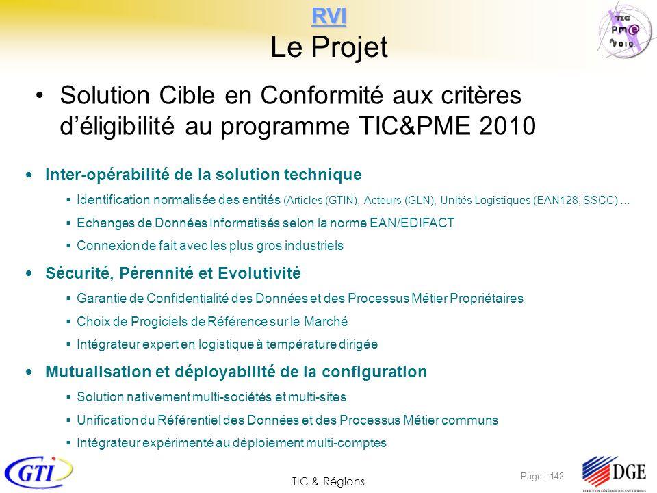 TIC & Régions Page : 142 RVI RVI Le Projet Solution Cible en Conformité aux critères déligibilité au programme TIC&PME 2010 Inter-opérabilité de la so