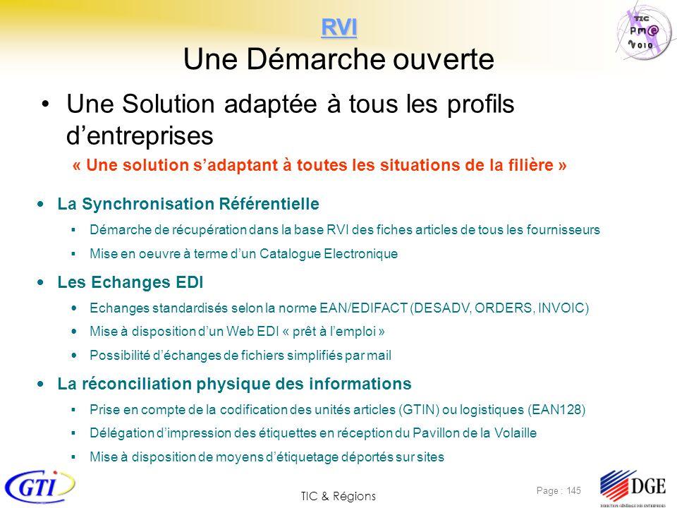 TIC & Régions Page : 145 RVI RVI Une Démarche ouverte Une Solution adaptée à tous les profils dentreprises « Une solution sadaptant à toutes les situa